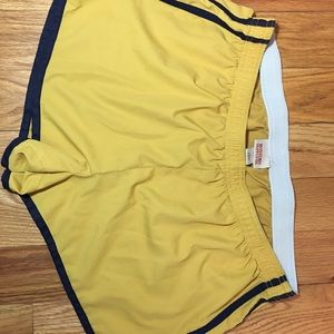 Mossimo Track Shorts -Yellow w Navy Stripes